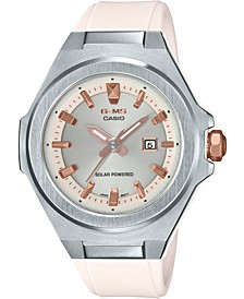 Baby-G Women's Solar Pearl White Resin Strap 38.8mm