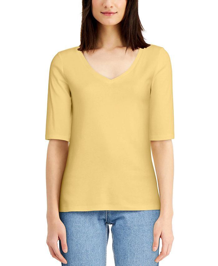 Charter Club - Cotton Elbow-Sleeve T-Shirt