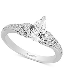 Enchanted Disney Diamond Pear-Cut Arial Engagement Ring (1 ct. t.w.) in 14k White & Rose Gold