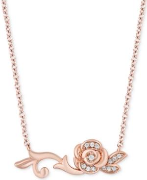 "Enchanted Disney Diamond Rose Belle 18"" Pendant Necklace (1/10 ct. t.w.) in 14k Rose Gold"