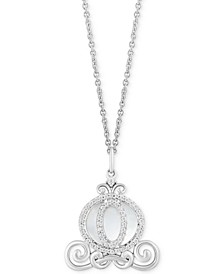 "Enchanted Disney Mother of Pearl (2-1/2 ct. t.w.) & Diamond (1/6 ct. t.w.) Cinderella Carriage Pendant Necklace in Sterling Silver, 16"" + 2"" Extender"