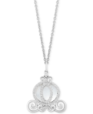 Enchanted Disney Mother of Pearl (2-1/2 ct. t.w.) & Diamond (1/6 ct. t.w.) Cinderella Carriage Pendant Necklace in Sterling Silver
