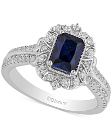 Enchanted Disney Sapphire (1 ct. t.w.) & Diamond (3/8 ct. t.w.) Cinderella Ring in 14k White Gold