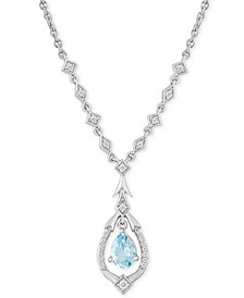 "Enchanted Disney Aquamarine (5/8 ct. t.w.) & Diamond (1/6 ct. t.w.) Elsa Pendant Necklace in Sterling Silver, 16"" + 2"" Extender"