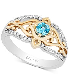 Enchanted Disney Swiss Blue Topaz (1/4 ct. t.w.) & Diamond (1/5 ct. t.w.) Jasmine Ring in 14k Gold & Sterling Silver