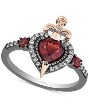 Enchanted Disney Villains Garnet (7/8 ct. t.w.) & Diamond (1/6 ct. t.w.) Evil Queen Heart & Sword Ring in 14k Rose Gold & Black Rhodium-Plated Sterling Silver
