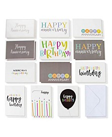 120 Happy Birthday Anniversary Cards Box Set Variety Pack with Envelopes