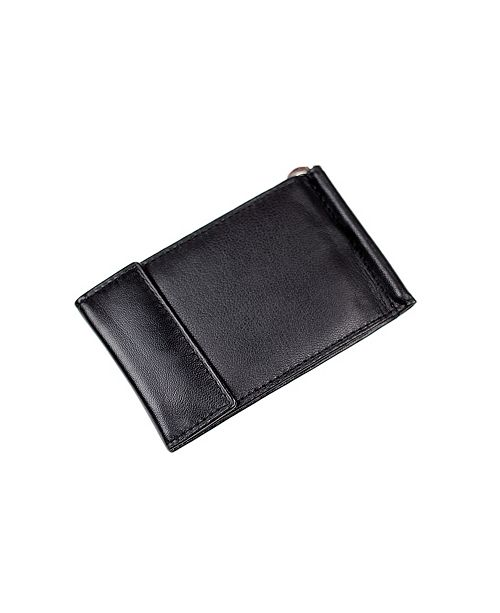 CHAMPS Genuine Leather Bill Fold Money Clip with Snap Closure