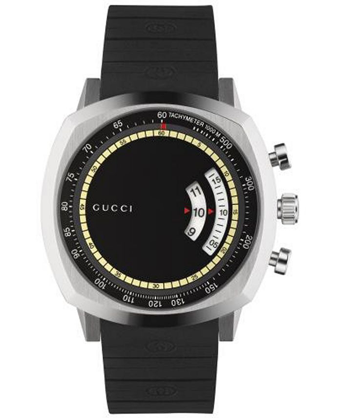 Gucci - Men's Swiss Chronograph Grip Black Rubber Strap Watch 40mm