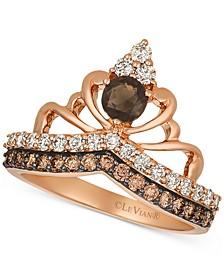 Chocolate Smoky Quartz (1/4 ct. t.w.) & Diamond (3/4 ct. t.w.) Tiara Ring in 14k Rose gold