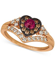 Raspberry Rhodolite (1/3 ct. t.w.) & Diamond (1/2 ct. t.w.) Heart Halo Ring in 14k Rose Gold