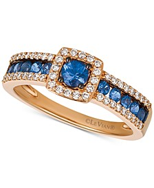 Blueberry Sapphire™ (5/8 ct. t.w.) & Vanilla Diamond (1/4 ct. t.w.) Ring in 14k Rose Gold