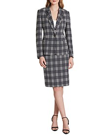 One-Button Plaid Blazer
