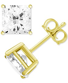 Fine Silver Plated Square Cubic Zirconia Stud Earrings