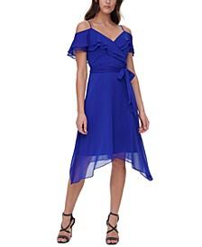 Off-The-Shoulder Belted Dress