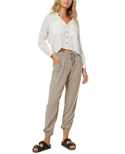 O'Neill Juniors' Barlea Cotton Cropped Shirt