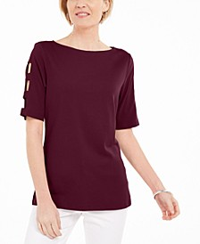 Cotton Cutout-Sleeves Top, Created for Macy's