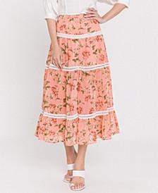 Coral Pink Vine Print Skirt