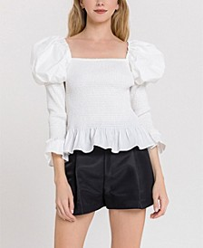 Smocked Top with Puff Shoulder