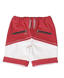 Toddler Boys Color Block Red Pull-On Shorts