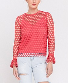 Long Sleeve Eyelet Lace Top with Underlay Cami