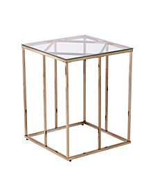 Imogen Contemporary End Table with Glass Top