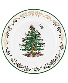 Christmas Tree Gold Round Charger