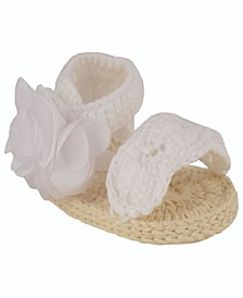 Baby Girls Crochet Sandal with Scallop Trim