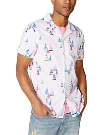 Men's Classic-Fit Boat-Print Camp Shirt