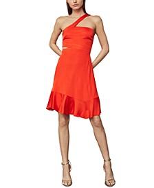 Asymmetrical-Strap Side-Cutout Dress