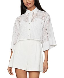 Button-Up Eyelet Top