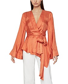 Textured Satin Wrap Top