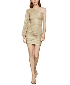 Metallic One-Shoulder Mini Dress