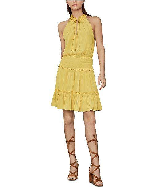 BCBGMAXAZRIA Flounce-Hem Satin Mini Dress