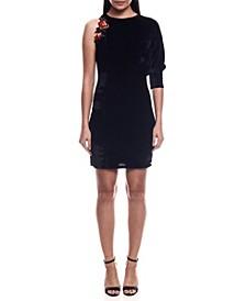 One Shoulder Short Velvet Dress