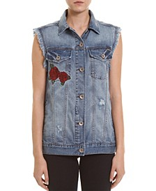 Embroidered Jeans Vest