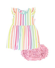 Infant Girls Rainbow Stripe Flutter Dress and Ruffle Bloomer Set