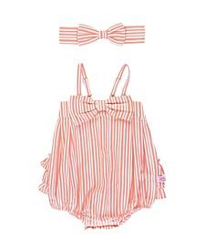Infant Girls Stripe Bubble Romper and Headband Set