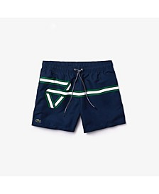 Men's Lightweight Quick Drying Swim Trunks with Heritage Ribbon Graphic