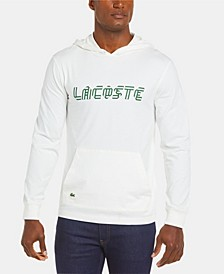 Men's Regular Fit Long Sleeve Hooded T-Shirt with Heritage Ribbon Lacoste Lettering