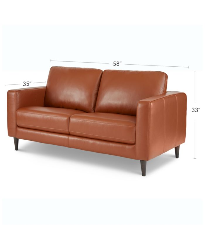"""Furniture Jennis 58"""" Leather Loveseat, Created for Macy's & Reviews - Furniture - Macy's"""