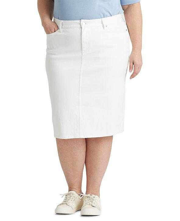 Lauren Ralph Lauren Plus Size Classic Five-Pocket Denim Skirt