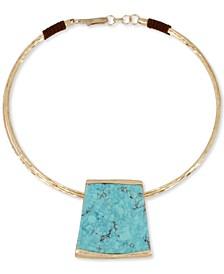 "Gold-Tone Geometric Pendant 16"" Collar Necklace"