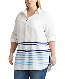 Plus Size Linen Casual Top