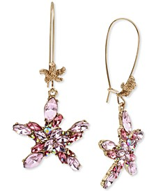 Gold-Tone Crystal Cluster Starfish Linear Drop Earrings