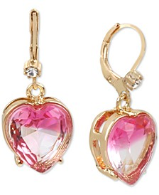 Gold-Tone Stone Heart Drop Earrings