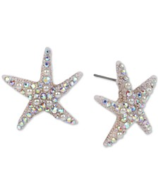Gold-Tone Pavé & Imitation Pearl Starfish Stud Earrings