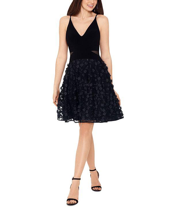 XSCAPE Appliqué Mesh Fit & Flare Dress