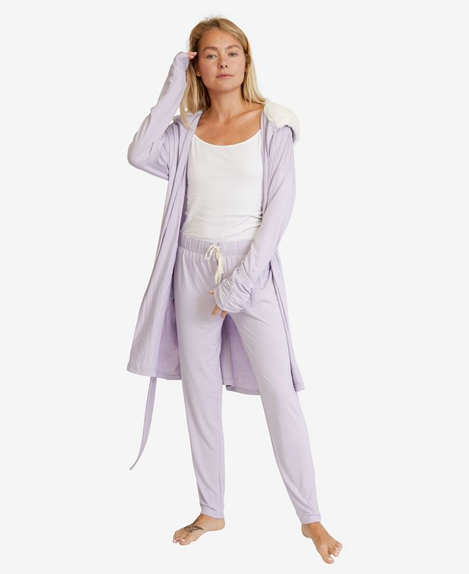 Nine Space Women's Hooded Jersey Robe and Pants Loungewear