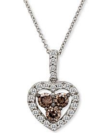 "Le Vian® Diamond Heart 18"" Pendant Necklace (1 ct. t.w.) in 14k White Gold"